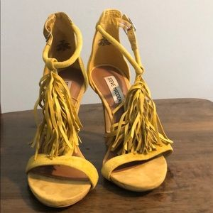 Yellow fringe heels